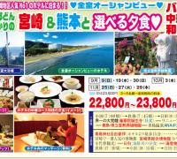 宮崎・青島コース 西郷どんゆかりの 宮崎&熊本と選べる夕食
