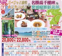 宮崎コース 豪華ホテル宮崎観光ホテル 高千穂峡&宮崎銃弾新名所